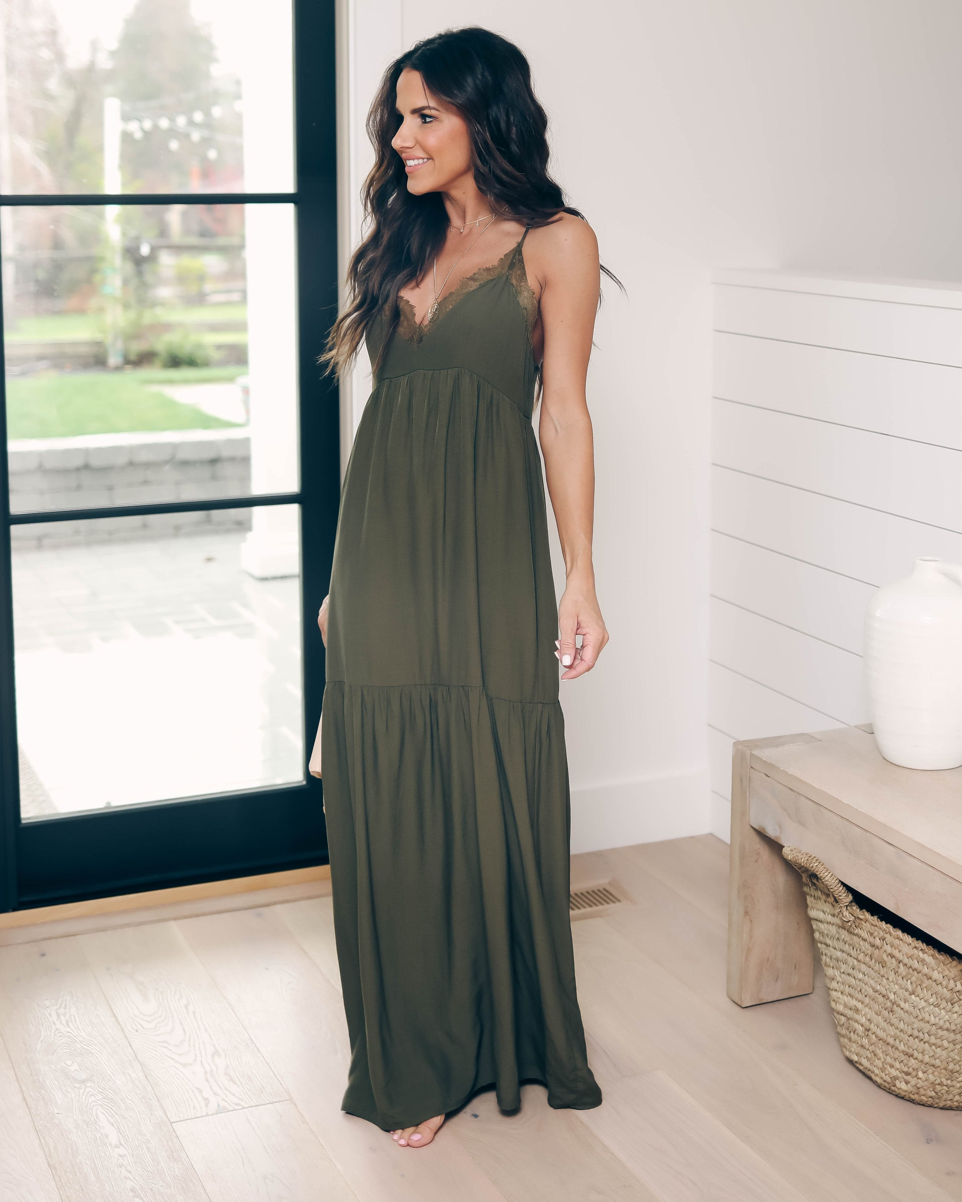 b461c6dcc21 Fallen Angel Tiered Slip Maxi Dress - Dark Olive - FINAL SALE – VICI