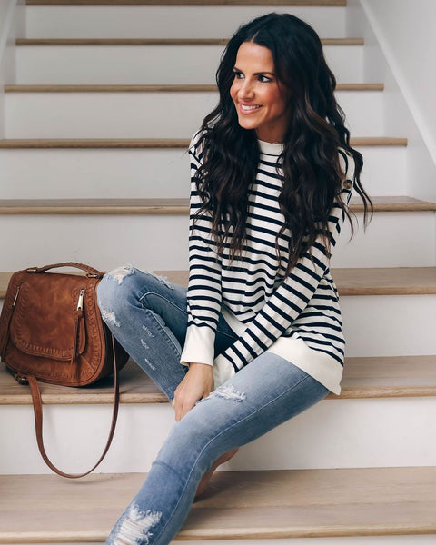 Harbor Striped Sweater - Navy/Ivory