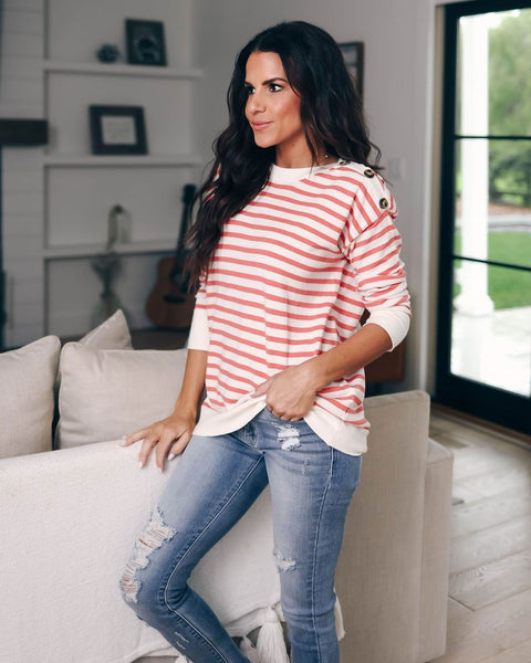 Harbor Striped Sweater - Peach/Ivory