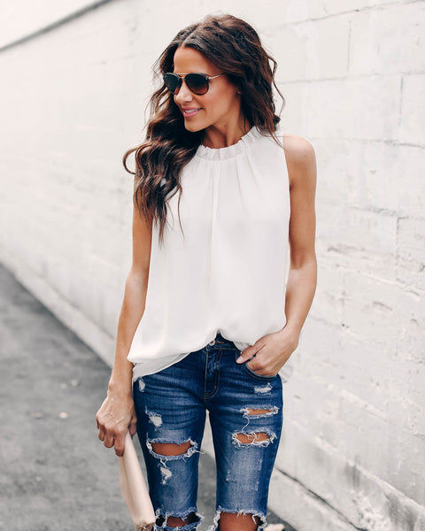 Who's That Girl Ruffle Tank - Off White
