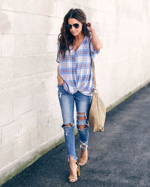 Spring Rain Plaid Twist Top