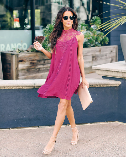 Take Me Away Lace Dress - Plum