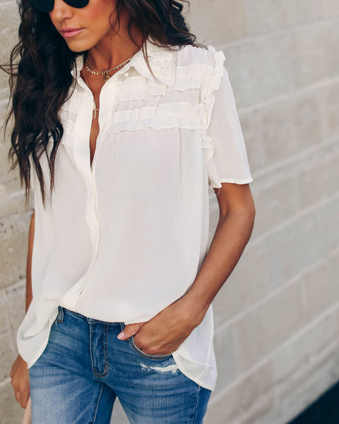 Mother Of Pearl Button Down Blouse