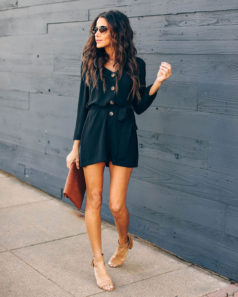 Memory Keeper Button Down Romper - Black