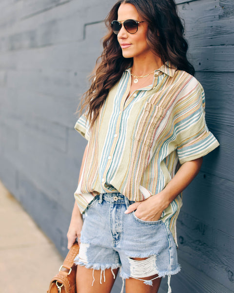 Simpler Times Button Down Top - FINAL SALE