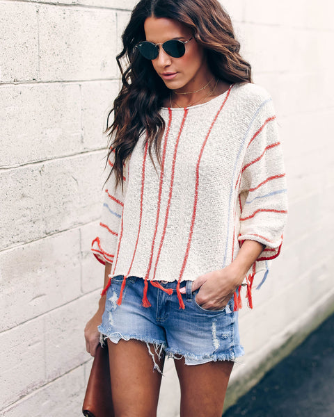 Hammock Knit Cotton Tassel Sweater