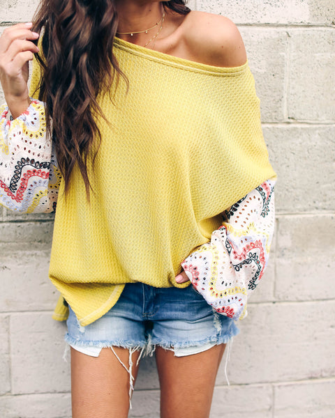 You Are My Sunshine Thermal Eyelet Contrast Top