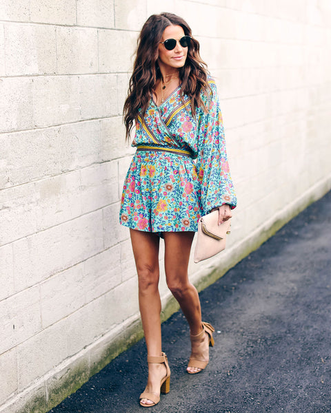 Dream Catcher Printed Pocketed Romper - Mint Mix