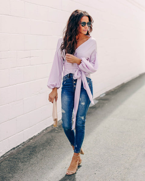 Candy Shop Striped Satin Wrap Blouse - Lavender