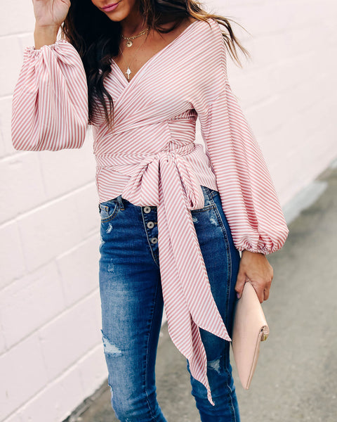 Candy Shop Striped Satin Wrap Blouse - Pink