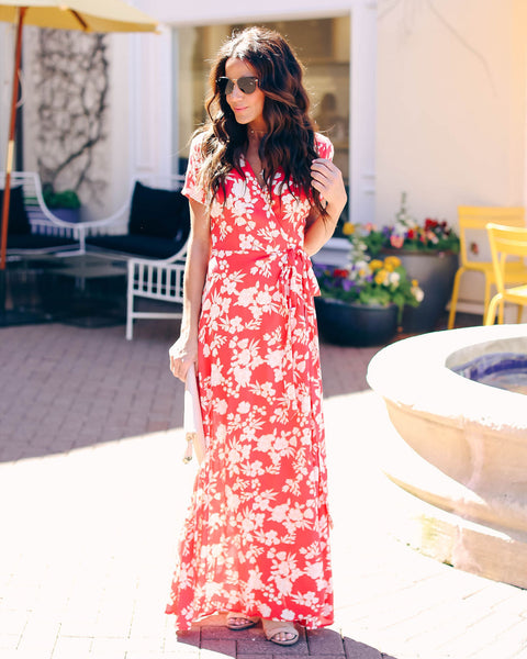 On A Beach In Hawaii Wrap Maxi Dress