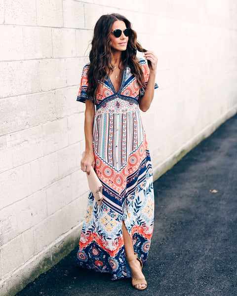 Hidden Paradise Button Down Maxi Dress