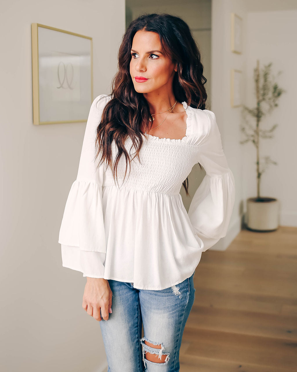 6b220a0b85530 Elysium Smocked Bell Sleeve Blouse - Off White – VICI