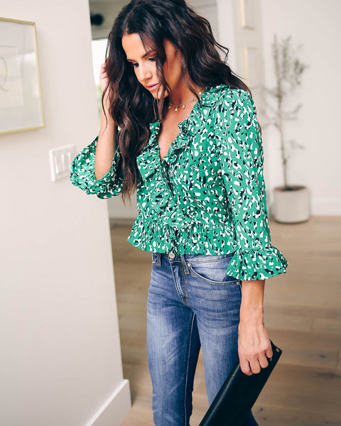 1b07c121d661c Shamrock Printed Ruffle Blouse - FINAL SALE. Sold Out