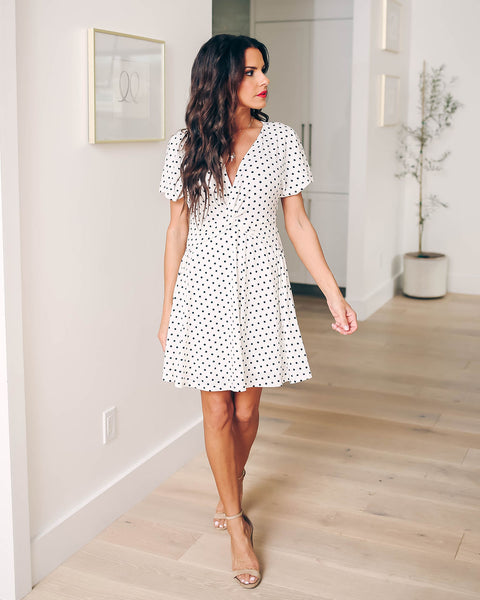 Pleasantville Polka Dot Dress - White - FINAL SALE