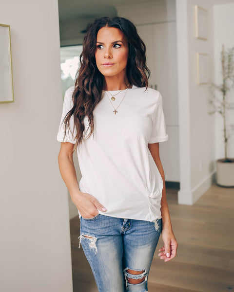 Sloane Cotton Twist Tee - Optic White - FINAL SALE