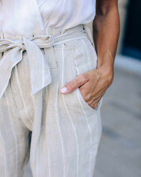 Going Overboard Linen Pocketed Tie Pants - Tan