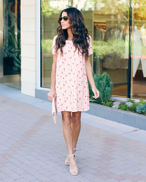 Like A Peach Floral Shift Dress