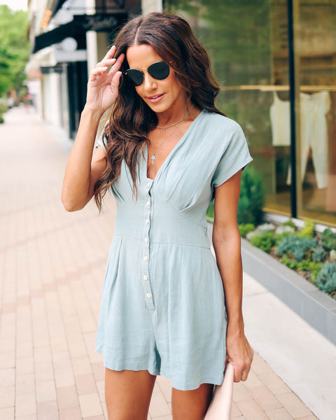 Sahara Button Down Pocketed Romper - Slate Blue