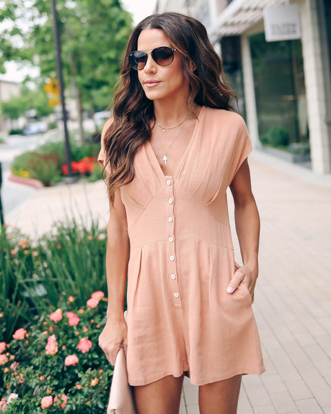Sahara Button Down Pocketed Romper - Ginger - FINAL SALE