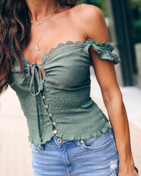 Tamrin Smocked Eyelet Crop Top - Olive