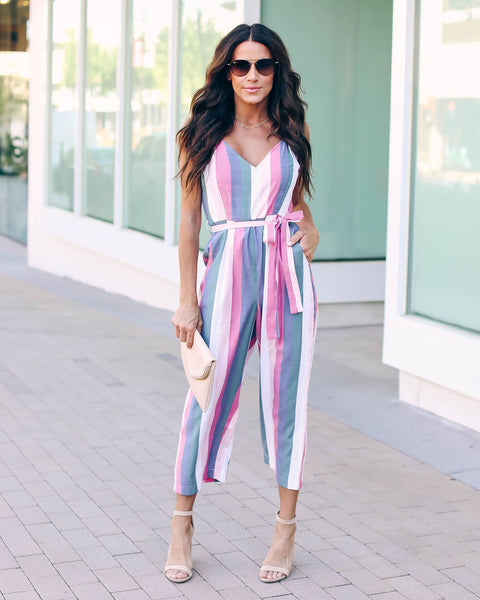 Mandy Striped Pocketed Jumpsuit