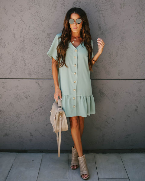 Give + Take Pocketed Button Down Dress - Sage - FINAL SALE