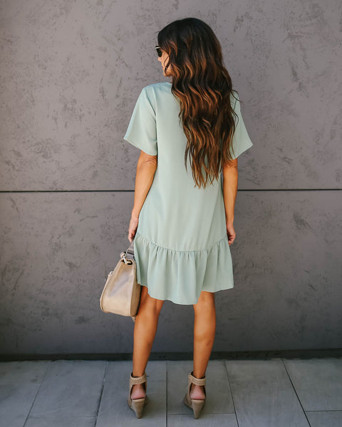 Give + Take Pocketed Button Down Dress - Sage