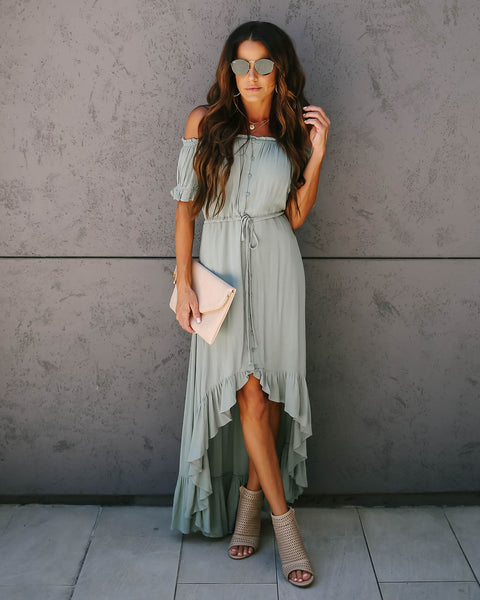 Flock Off The Shoulder High Low Ruffle Maxi Dress - Sea Green