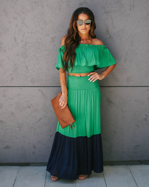 Good Look Smocked Ruffle Maxi Skirt