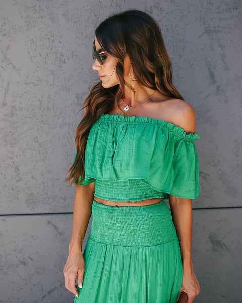 Good Look Off The Shoulder Smocked Ruffle Crop Top