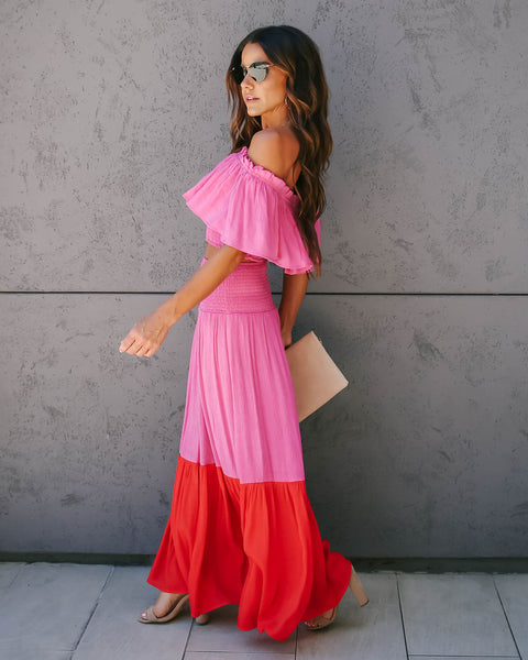 Hey Now Smocked Ruffle Maxi Skirt