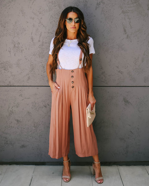 Faux Real Pocketed Overalls - Dusty Blush
