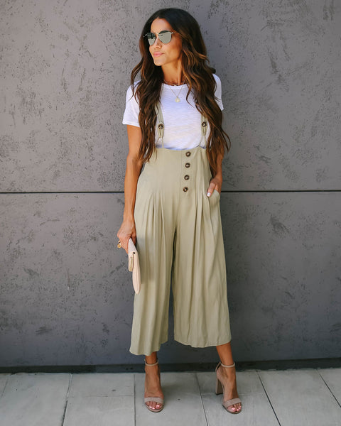 Faux Real Pocketed Overalls - Olive