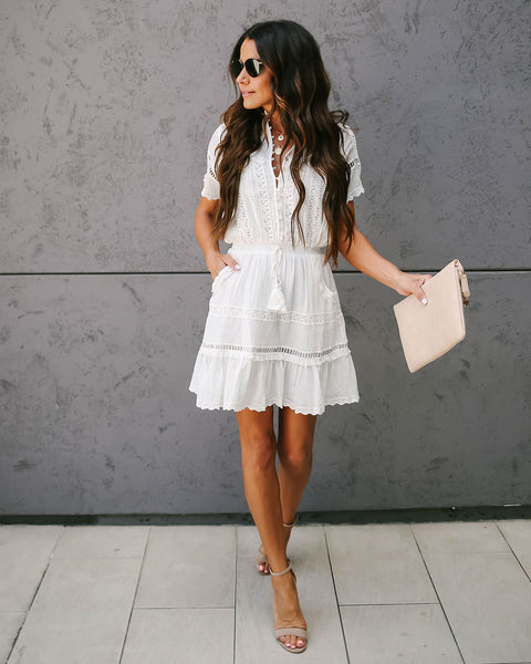 Come Through Cotton Pocketed Lace Detailed Dress