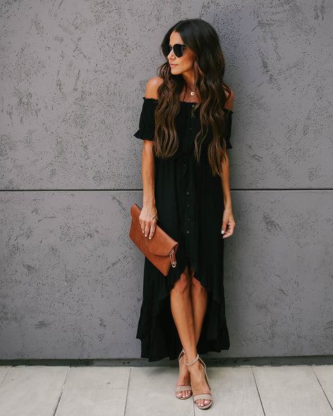 Flock Off The Shoulder High Low Ruffle Maxi Dress - Black - FINAL SALE