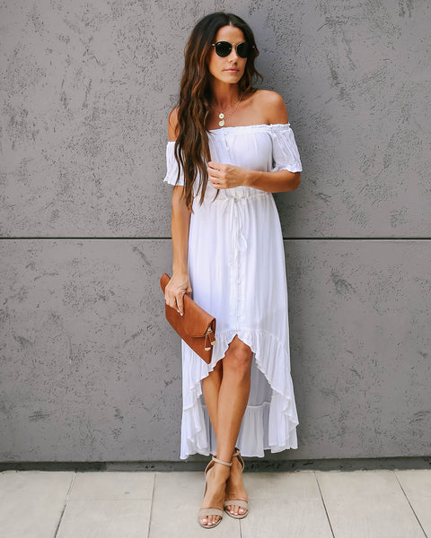 Flock Off The Shoulder High Low Ruffle Maxi Dress - Off White