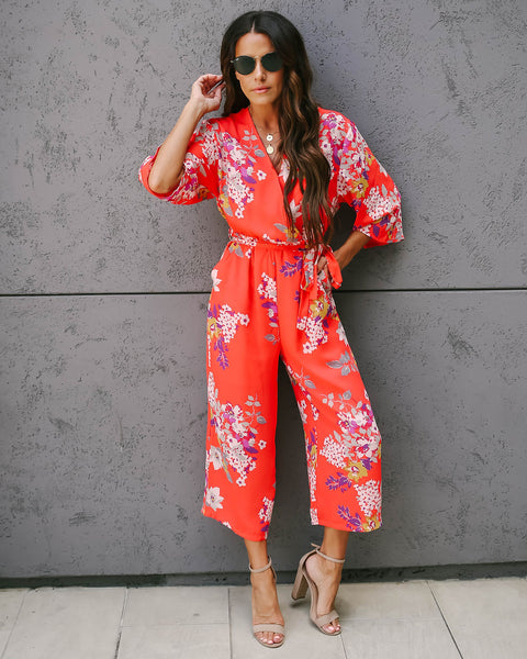 Push Petal Pocketed Jumpsuit - FINAL SALE