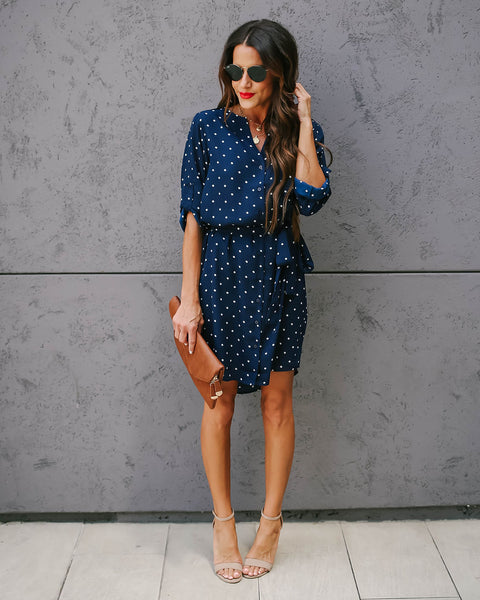 Slow Dance Polka Dot Button Down Dress