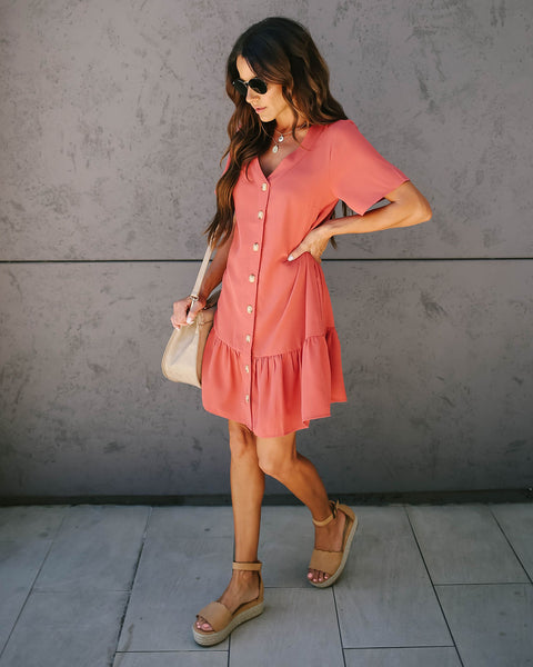 Give + Take Pocketed Button Down Dress - Light Marsala