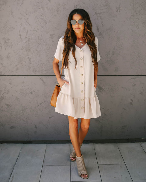 Give + Take Pocketed Button Down Dress - Oatmeal