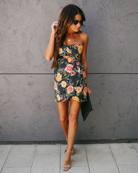 ed404383e6d5 Glow Up Floral Strapless Sweetheart Mini Dress