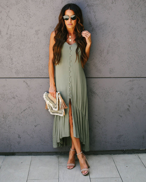 Travis Button Down Woven Ruffle Dress - Olive