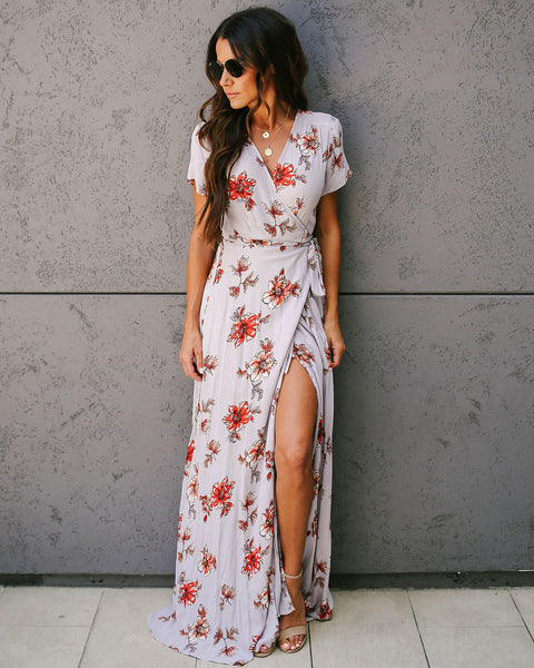 Postcard From Positano Floral Wrap Maxi Dress