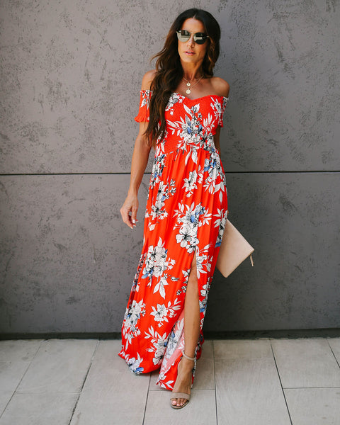 Waikiki Floral Smocked Slit Maxi Dress