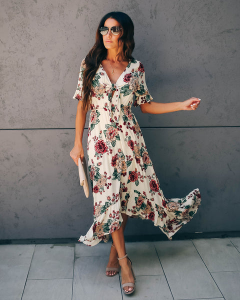 Greenhouse Floral Tie Front Ruffle Maxi Dress