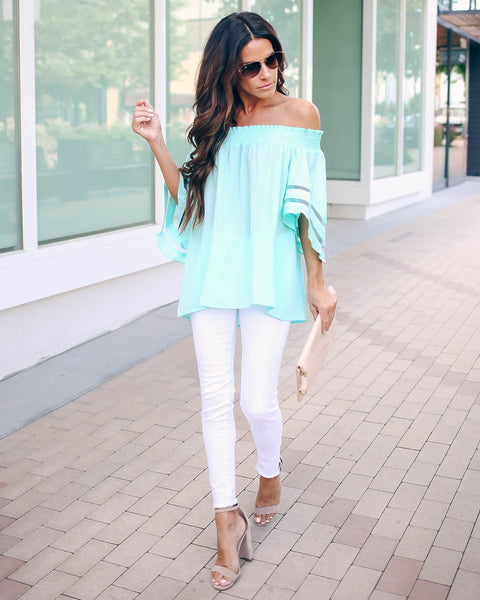 River Run Off The Shoulder Bell Sleeve Top