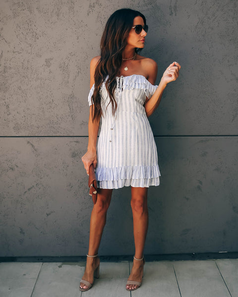 Lighthouse Striped Off The Shoulder Ruffle Dress