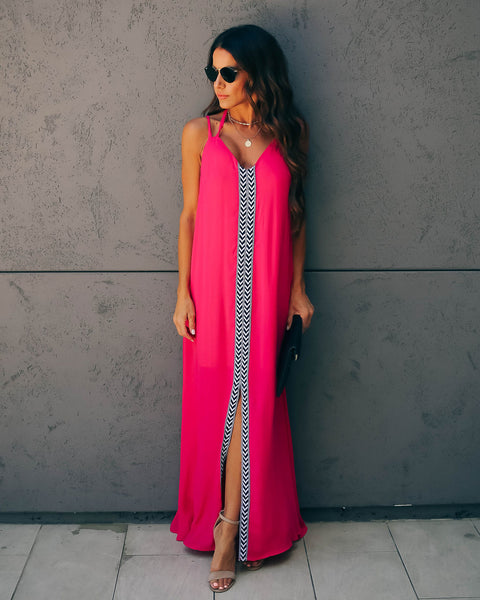 Disco Bay Embroidered Maxi Dress - Fuchsia