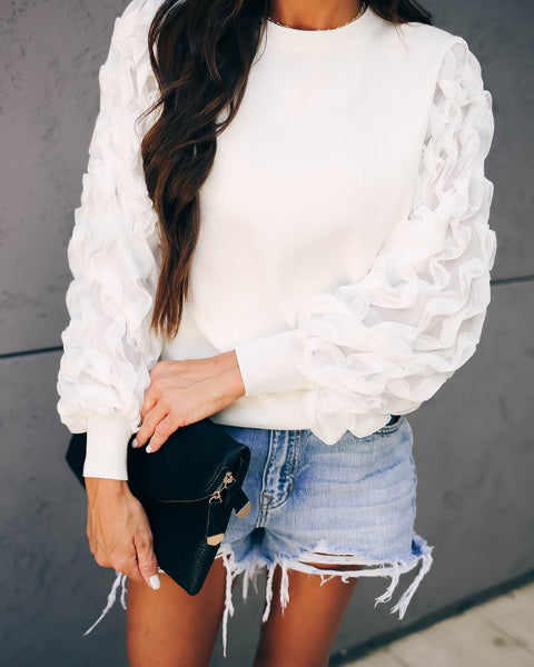 Tousle Statement Sleeve Sweater - Ivory